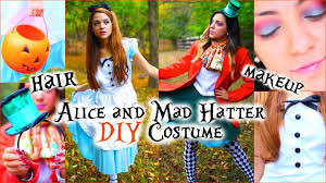 alice and mad hatter diy costumes hair and makeup youtube