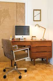 new york mid century desk home office midcentury with white walls