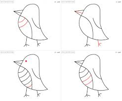 easy bird drawing step by step how to draw bird for kids step step