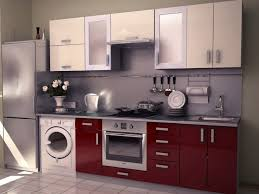 Gloss Red Kitchen Doors - breathtaking straight shape modular kitchen with white red colors