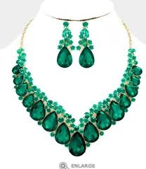 green crystal necklace set images Green emerald gold long crystal pageant dangle earrings jewelry jpg