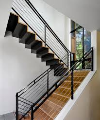 Banister Staircase Modern Stair Railing Staircase With Bench Glass Shade