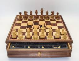 wooden chess checkers set