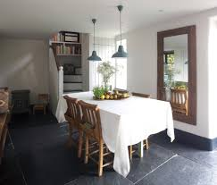 design of tablecloth dining room farmhouse with wood panel mirror