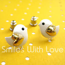 small chicken small chicken bird earrings with gold heart wings allergy free