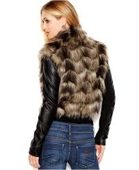 guess faux leather zip sleeve faux fur jacket lyst