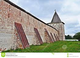 Buttress Wall Design Example Wall With Buttresses And Tower Of Ancient Monastery Stock Image