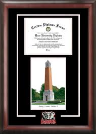 of alabama diploma frame of alabama tuscaloosa denny chimes bell tower