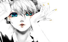 kagamine len blue eyes vocaloid headphones white hair