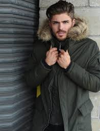 axton mock insert fur hooded parka jacket in woodland khaki le
