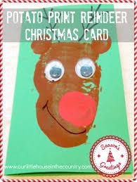 potato print reindeer christmas cards potato print craft