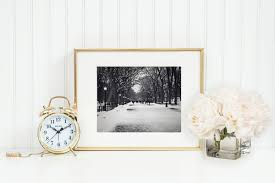 black and white new york city print winter home decor central