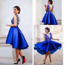 blue dress royal blue high low cocktail dresses 2017 for v neck knee