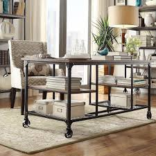 desks with storage tribecca home nelson industrial modern rustic storage
