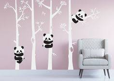 stickers panda chambre bébé cherry blossom wall decal playful pandas in cherry blossom tree