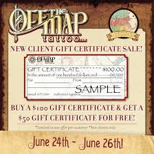 Off The Map Tattoo New England News New Client Gift Certificate Sale This Weekend