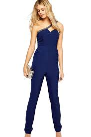 casual jumpsuits blue one shoulder rhinestone decor casual jumpsuit rompers
