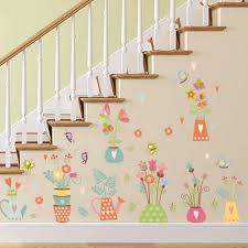 potted plants colorful bonsai wall sticker wall border decal stair