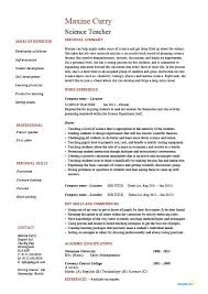 Teacher Resumes Examples by Science Resume Examples 22 Picturesque Design Ideas Computer