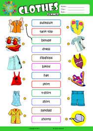 summer clothes esl printable worksheets for kids 1