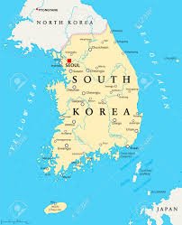 World Map With Lakes by South Korea Political Map With Capital Seoul National Borders
