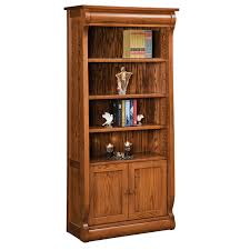 Classic Bookcase Old Classic Sleigh 4 Shelf 2 Door Bookcase Amish Furniture