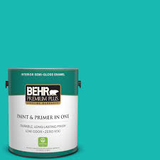 behr premium plus 1 gal p450 5 island aqua semi gloss enamel