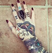 tattoo hand moon butterflies tattoo tattooed tattoos