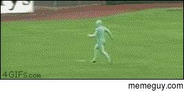 Green Man Meme - baseball game streaker level greenman meme guy