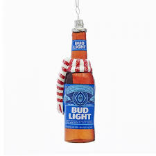 budweiser bud light bottle with scarf glass ornament