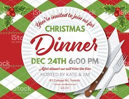 argyle tablecloth christmas dinner invitation template stock