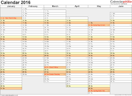 excel template planner excel calendar 2016 uk 16 printable templates xls xlsx free template 4 yearly calendar 2016 as excel template landscape orientation a4 2
