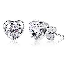 silver earrings studs b catcher earring studs heart shape 925 sterling silver cubic