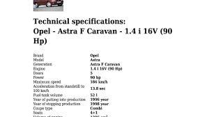 opel astra f caravan 1 4 i 16v 90 hp technical