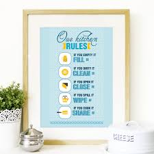 midcentury kitchen rules inspired poster vintage retro