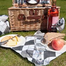 Wine Picnic Baskets Savisto Luxury 4 Person Wicker Picnic Basket With Full Picnic Set
