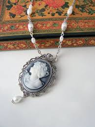 cameo necklace pendant images Cameo necklace with pearl teardrop victorian cameo necklace gray jpg
