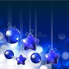 shiny ornaments and lights on blue background for holy