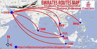 United Flight Map Civil Aviation Emirates Flight Routes To Southeast Asia