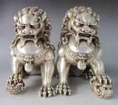 foo lion statue tibetan silver bronze fu foo dog guardian lion statue ebay