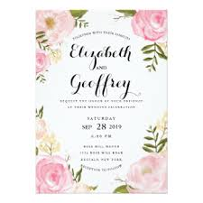 floral wedding invitations rectangle ivory pink framing with