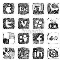 drawn vector social media icon pencil and in color drawn vector
