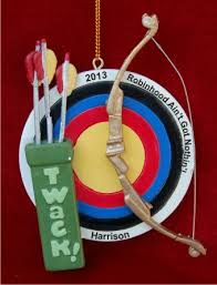 archery target bow ornament personalized