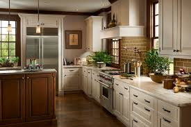 warm brown white cabinets in this homey kitchen space features