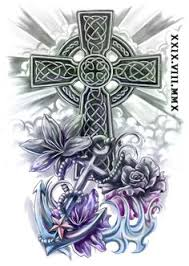 Celtic Cross Half - a celtic wolf arm changed the wolf around the