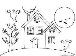 haunted house coloring halloween
