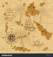 Map With Compass Seamless Old Map Compass Ships Yellow Stock Vector 274336337