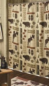 Cabin Shower Curtains Big Country Moose And 5 Bath Set Cabin Decor Shower