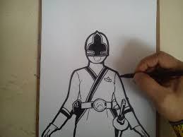 como dibujar power ranger samurai amarillo draw power