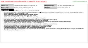 Sample Resume Maintenance by Ironworker Resume Sample